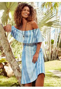 Vestido Azul Ciganinha Mídi Sustentável