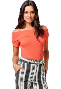Blusa Mx Fashion De Malha Canelada Sarah Coral