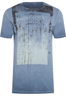 Camiseta Masculina Estampa New York - Azul