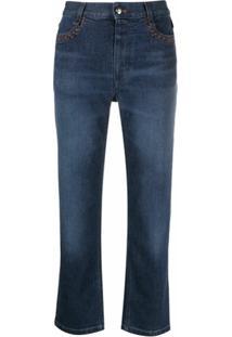 Chloé Calça Jeans Reta Cintura Média - Azul