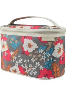 Necessaire Frasqueira Estampada Tam. G Jacki Design Miss Douce Bege Floral - Tricae