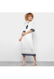 Vestido Maria Filó Longo Crochê Lese Decote Barbicachos - Feminino-Branco