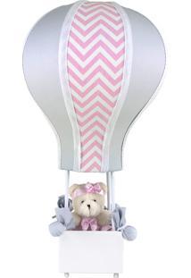 Abajur Balãozinho Cintura Ursa Chevron Rosa Quarto Bebê Infantil Menina - Kanui