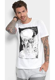 Camiseta Gangster Caveira Masculina - Masculino-Branco