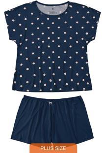Pijama Azul Marinho Plus Size Poá Em Viscose
