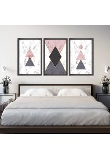 Quadro 60X120Cm Abstrato Escandinavo Coloridos Geométrico Triangulos Oppen House Moldura Preta Sem Vidro - Mod: Oh5714