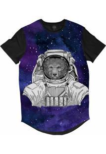 Camiseta Longline Insane 10 Animal Astronauta Urso Pardo No Espaço Sublimada Cinza