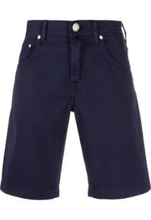 Jacob Cohen Bermuda Jeans Com Detalhe De Lenço - Azul