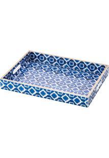 Bandeja De Madeira 40X30Cm - Lyor Classic Azul