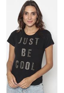 "Blusa ""Just Be Cool"" Com Spikes- Preta & Dourada- Cacavalari"
