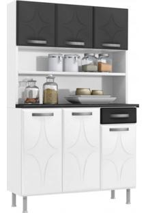 Armário Para Cozinha 6 Portas 1 Gaveta Rubi Smart Telasul Branco/Preto
