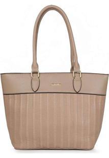 Bolsa Shopping Feminina Gash Recortes Taupe