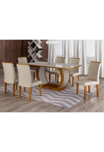 Conjunto De Mesa De Jantar Com Vidro E 6 Cadeiras Maia Iii Veludo Imbuia E Creme