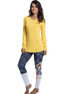 Pijama Recco De Viscose E Malha Touch Amarelo