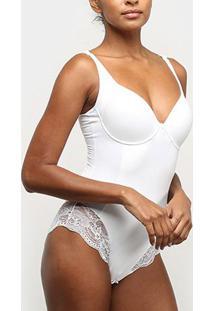 Body Modelador Dilady Bojo Renda - Feminino-Branco