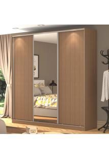 Guarda-Roupa Casal 3 Portas Correr 1 Espelho 100% Mdf Rc3003 Ocre - Nova Mobile