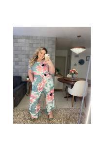 Calça Pantacourt Almaria Plus Size Miss Taylor Estampada Verde