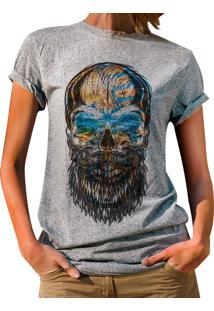 ... Blusa Outletdri T-Shirt Estampada Beard Colored Skull Cinza 253237ba5f463