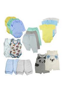 Kit Enxoval Bebê 15 Peças Body Mijão Macacão E Shorts Promo Azul
