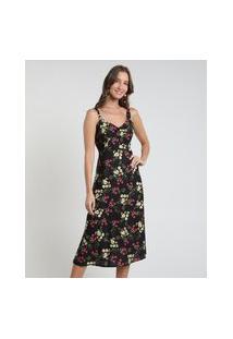 Vestido Feminino Midi Estampado Floral Alça Média Preto