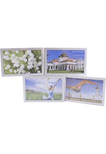Porta Retrato Minas De Presentes Articulado De Alumínio 4 Fotos 10X15Cm Branco