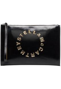 Stella Mccartney Clutch Com Estampa De Logo - Preto