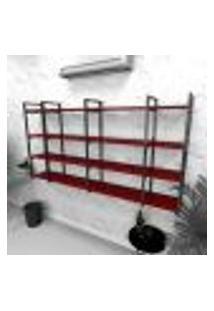 Estante Industrial Escritório Aço Cor Preto 180X30X98Cm Cxlxa Cor Mdf Vermelho Modelo Ind57Vres