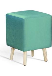 Puff Cube Azul Tiffany Pes Palito Pinus 45Cm - 61335 - Sun House
