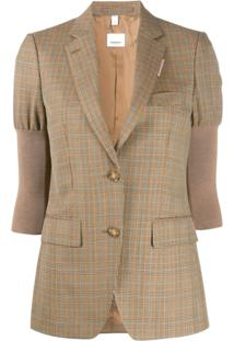 Burberry Knitted Sleeve Houndstooth Check Tailored Jacket - Neutro