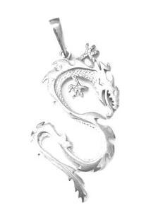 Pingente Dragão De Prata - Masculino-Prata