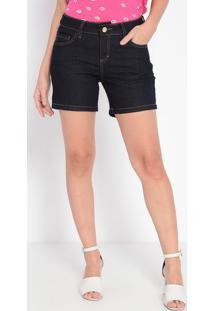 Bermuda Jeans Com Bolsos- Azul Escuro- Malweemalwee
