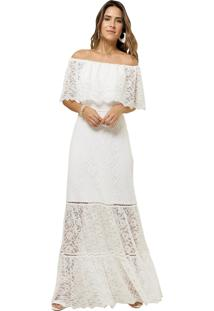 Vestido Mx Fashion Longo De Renda Grenda Off White
