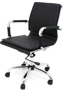 Cadeira Diretor Valencia Baixa Preta Base Cromada 6565 Sun House