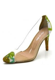 Sapato Scarpin Salto Alto Fino Em Tecido Abacaxi Com Transparência