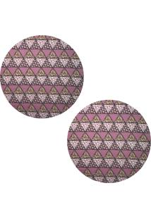 Kit 2Pçs D'Rossi Sousplat Para Prato Suporte De Mesa Decorativo Rosa Mosaico 30 Cm