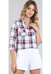 Camisa Feminina Estampada Xadrez Com Bolsos Manga Longa Branca
