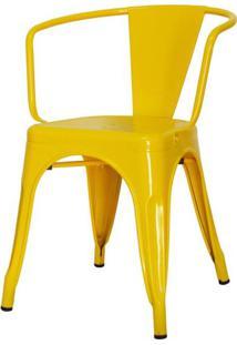 Cadeira Iron Tolix Com Braco Com Pintura Epoxi Amarela - 48196 - Sun House