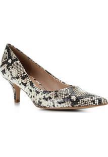 Scarpin Couro Shoestock Cobra Salto Médio - Feminino-Preto+Bege
