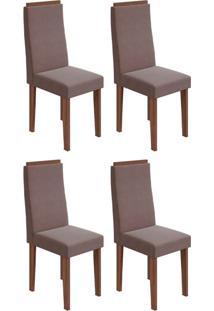 Conjunto Com 4 Cadeiras Dafne Imbuia E Rose
