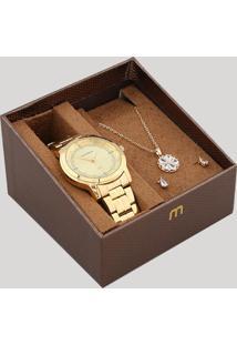 Kit De Relógio Analógico Mondaine Feminino + Brinco + Colar - 99066Lpmvde1Kc Dourado - Único
