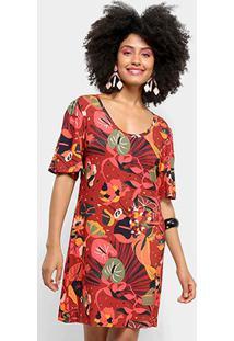 Vestido Curto Cantão Mangão Miranda - Feminino-Vermelho