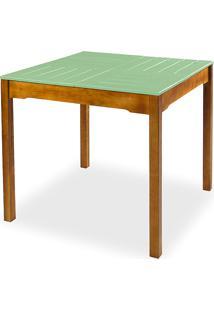 Mesa De Madeira Maciça Para Sala De Jantar Taeda Com Tampo Colorido Olga Verniz Nózes E Verde Sálvia 80X80X75Cm