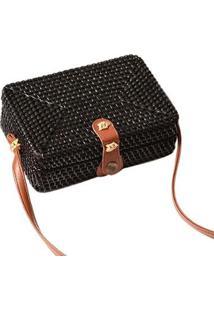 Bolsa De Palha Mini Bag Quadrada Em Rattan Com Couro Pu Feminina - Feminino-Preto