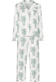 Desmond & Dempsey Pijama Howie Com Estampa De Abacaxi De Algodão - Branco