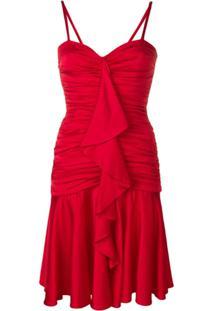 Moschino Vestido Evasê Com Babados - Vermelho