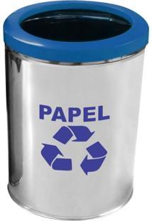 Lixeira Para Coleta Seletiva Papel Com Aro Plástico 45L