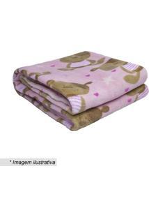 Cobertor Baby Estrela- Rosa Claro & Marrom Claro- 90Camesa