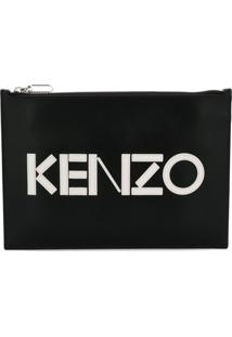 Kenzo Clutch De Couro Com Logo - Preto