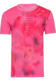 Camiseta Masculina Estampa Manchas - Rosa