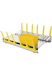 Escorredor De Louças Tramontina Aço Inox Plurale Amarelo